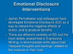 emotional disclosure interventions
