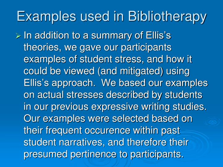 Examples used in Bibliotherapy