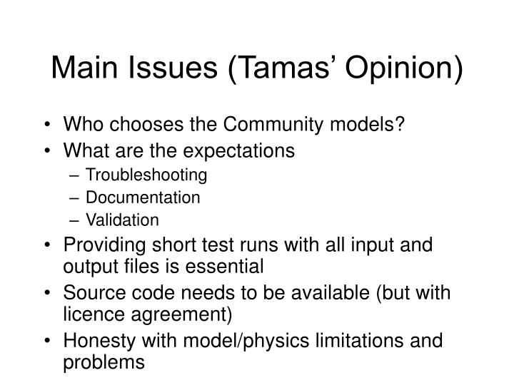 Main issues tamas opinion
