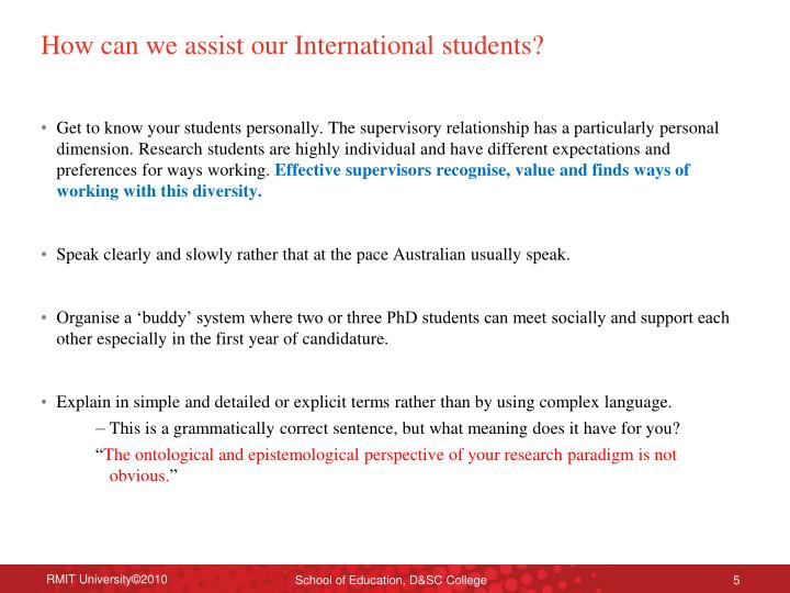 How can we assist our International students?