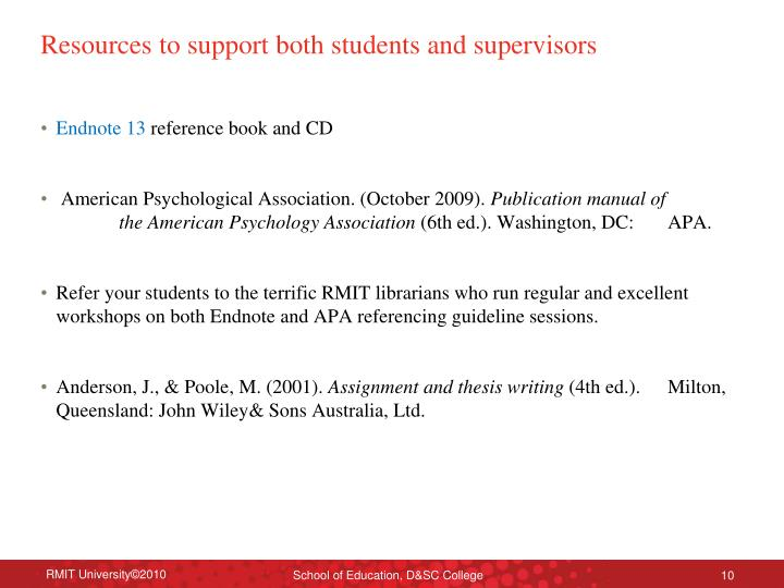 Resources to support both students and supervisors