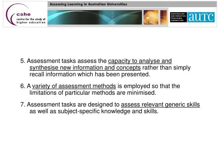 5. Assessment tasks assess the