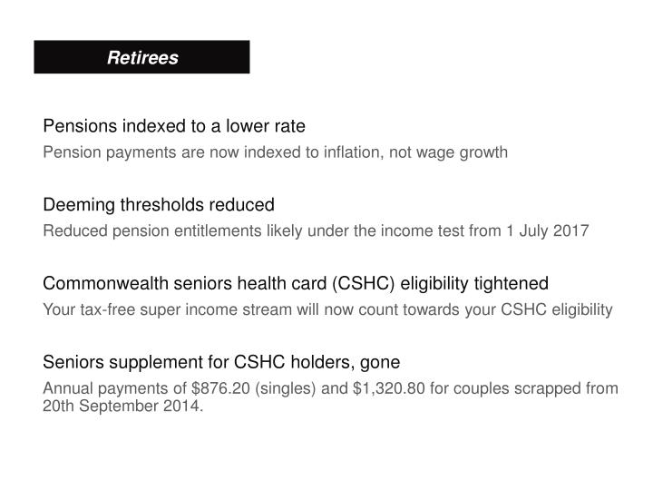 Pensions indexed to a lower rate