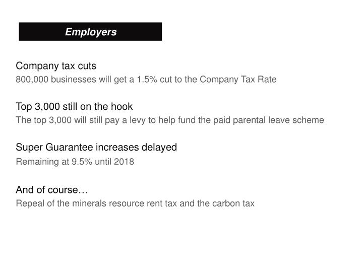 Company tax cuts