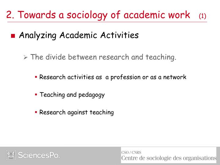 2. Towards a sociology of academic work