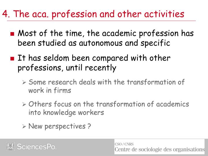 4. The aca. profession and other activities