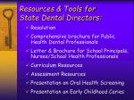 resources tools for state dental directors