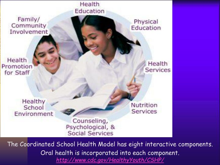 The Coordinated School Health Model has eight interactive components. Oral health is incorporated into each component.