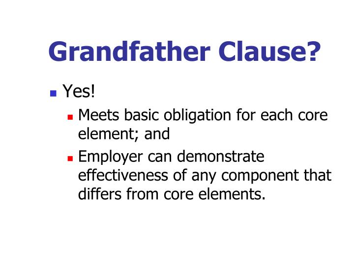 Grandfather Clause?