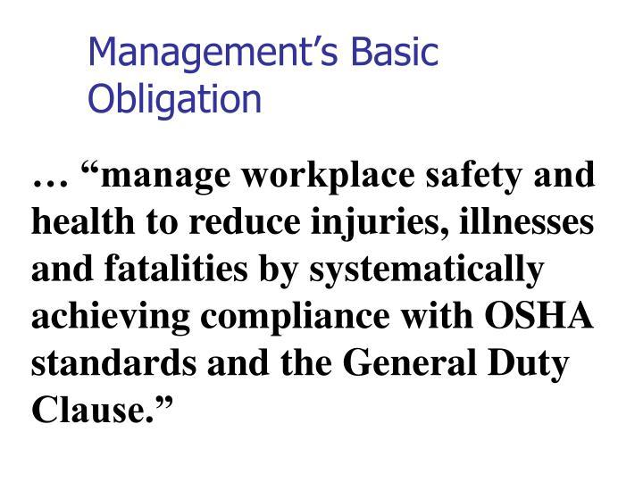 Management's Basic Obligation