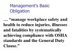 management s basic obligation