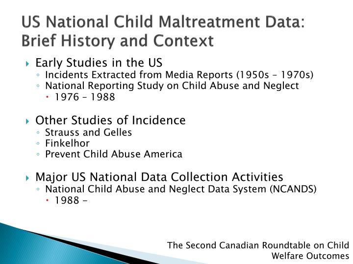 Us national child maltreatment data brief history and context