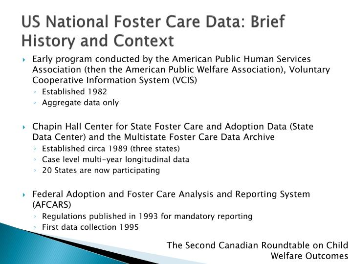 US National Foster Care Data: Brief History and Context