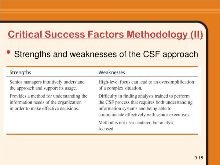 Critical Success Factors Methodology (II)