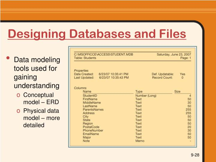 Designing Databases and Files