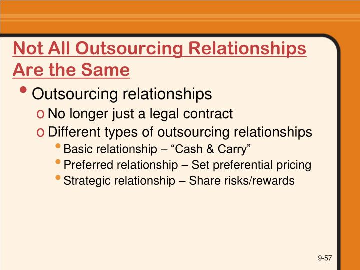 Not All Outsourcing Relationships Are the Same