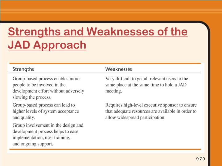 Strengths and Weaknesses of the JAD Approach