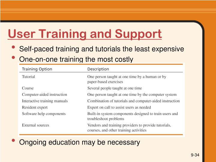 User Training and Support