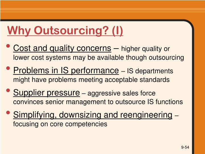 Why Outsourcing? (I)