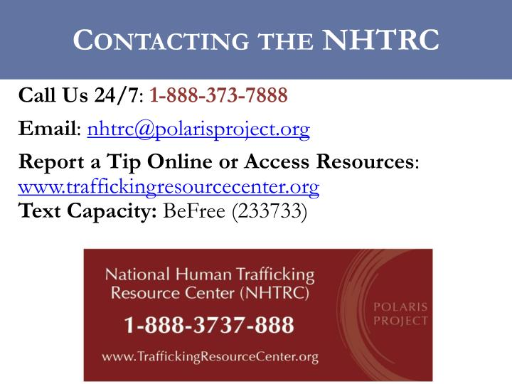 Contacting the NHTRC