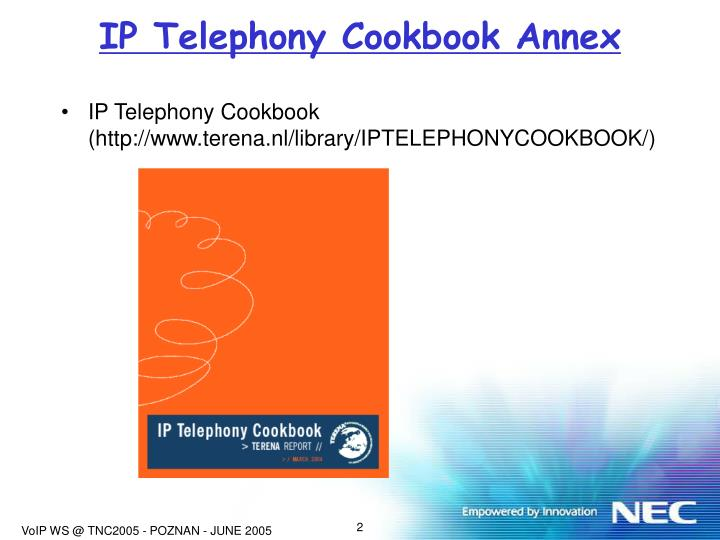 IP Telephony Cookbook Annex