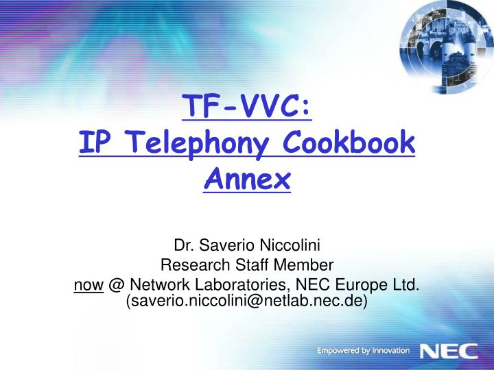 Tf vvc ip telephony cookbook annex
