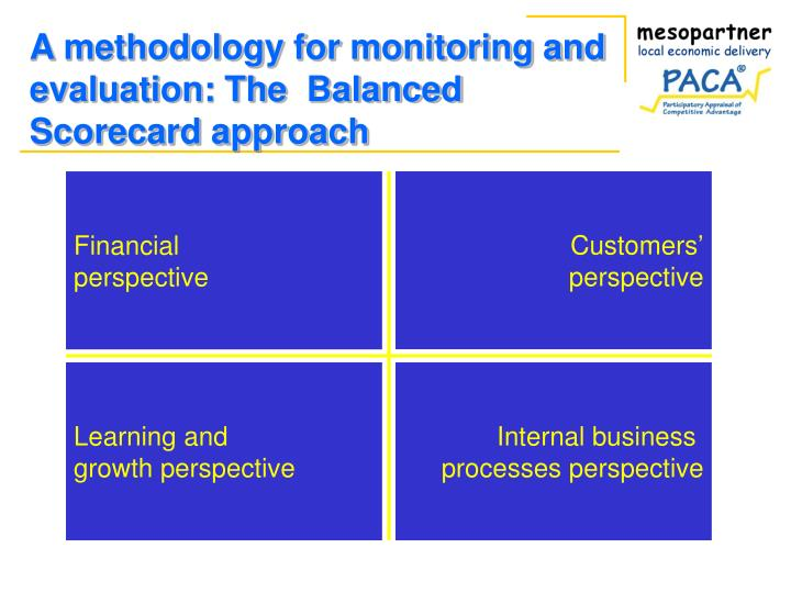 A methodology for monitoring and evaluation the balanced scorecard approach