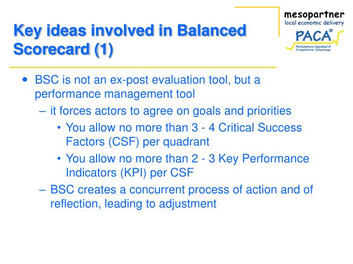 Key ideas involved in balanced scorecard 1