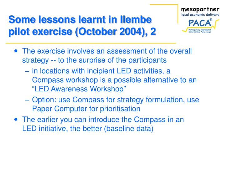 Some lessons learnt in Ilembe pilot exercise (October 2004), 2