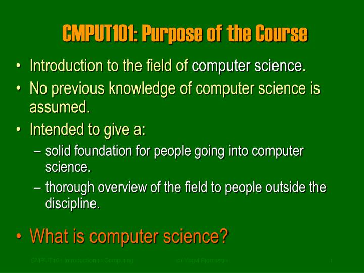 cmput101 purpose of the course