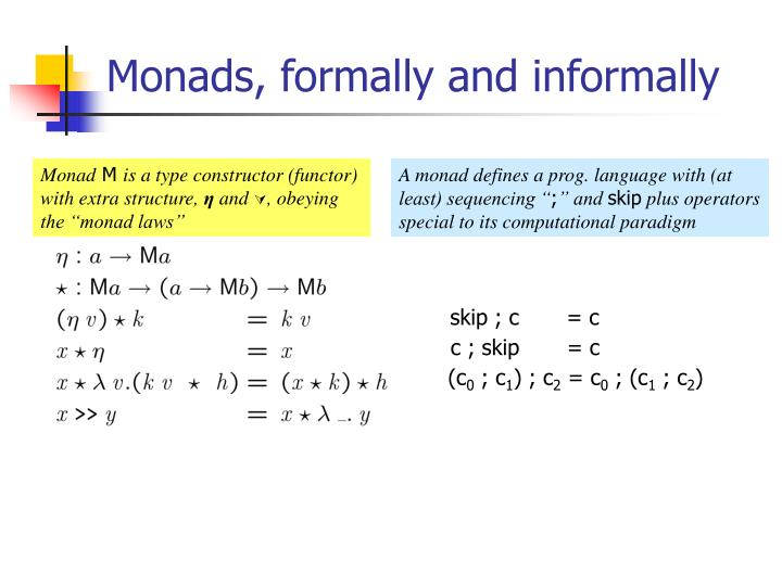 Monads, formally and informally