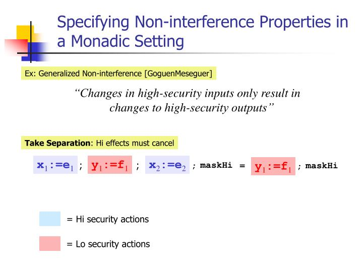 Specifying Non-interference Properties in a Monadic Setting