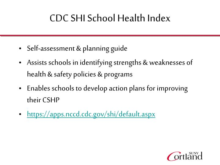 CDC SHI School Health Index