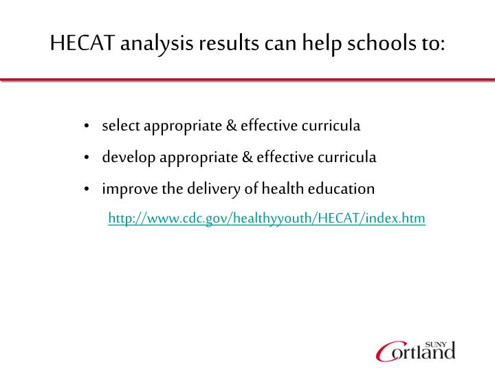 HECAT analysis results can help schools to:
