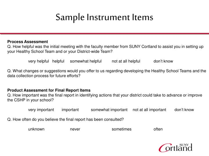 Sample Instrument Items