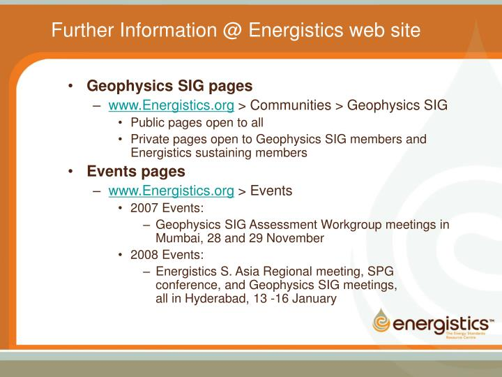 Further Information @ Energistics web site