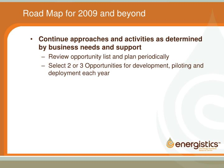Road Map for 2009 and beyond
