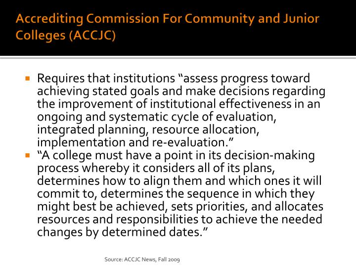 Accrediting Commission For Community and Junior Colleges (ACCJC)