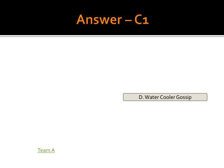 Answer – C1