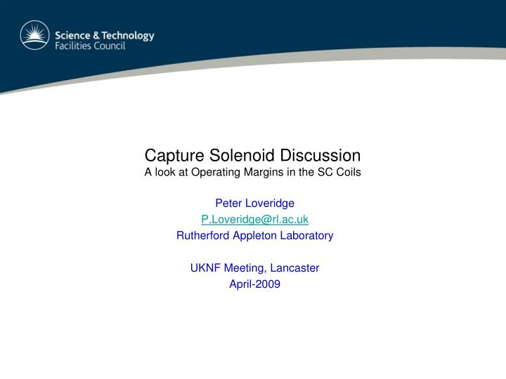 Capture solenoid discussion a look at operating margins in the sc coils