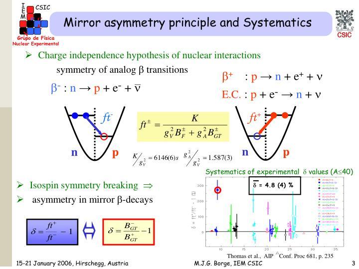 Mirror asymmetry principle and Systematics