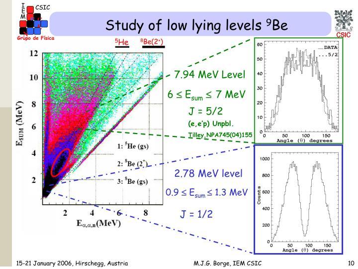 Study of low lying levels