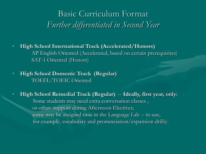 Basic Curriculum Format