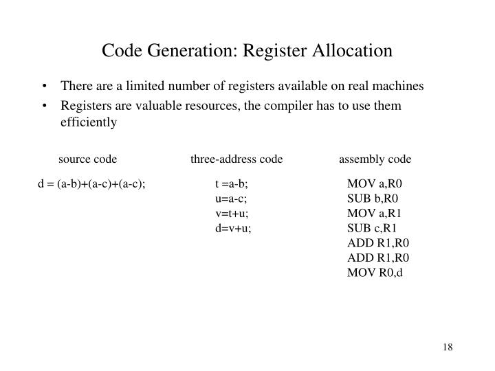Code Generation: Register Allocation
