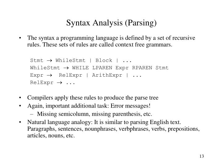 Syntax Analysis (Parsing)