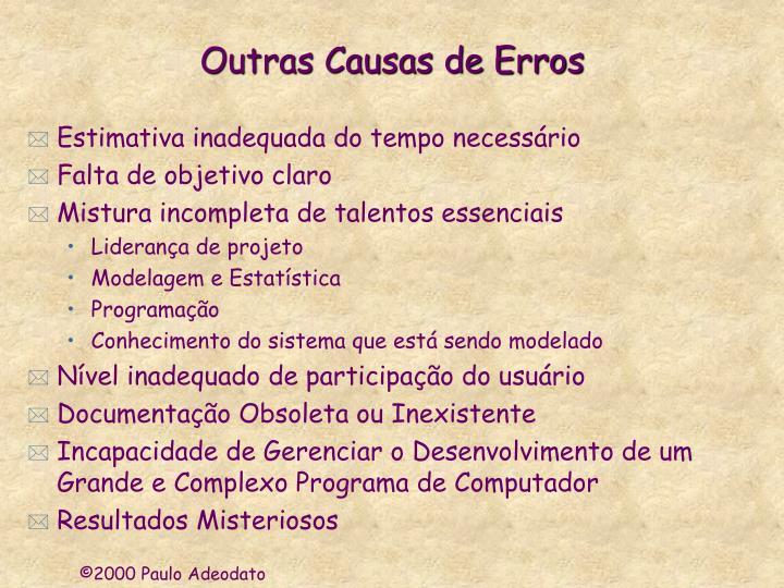 Outras Causas de Erros