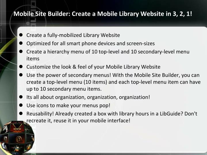 Mobile Site Builder: Create a Mobile Library Website in 3, 2, 1!