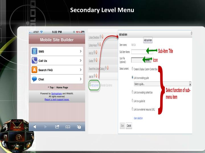Secondary Level Menu