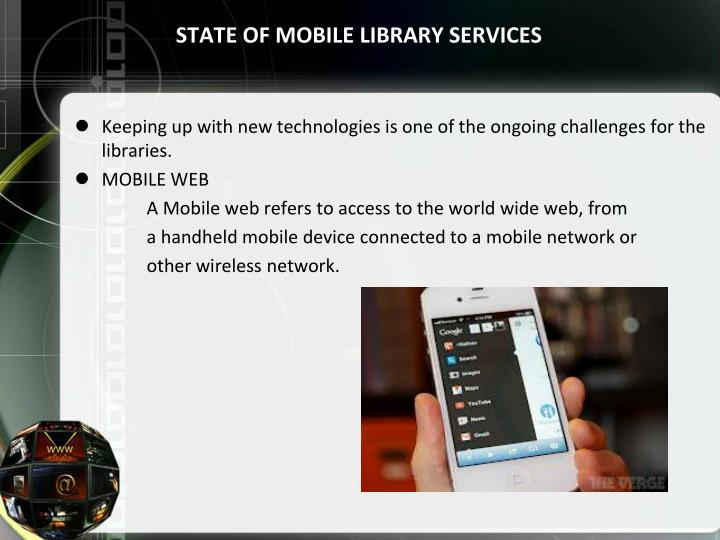 STATE OF MOBILE LIBRARY SERVICES