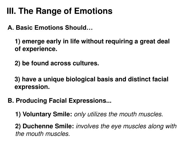 III. The Range of Emotions